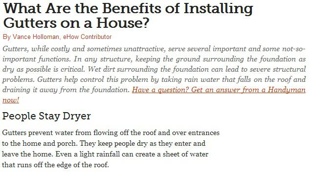 what are the benefits of installing gutters on a house