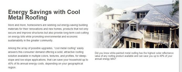 energy savings with cool metal roofing
